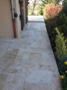 Terrasse pierre naturelle 12mm Pose en Opus