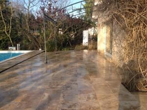 Terrasse pierre naturelle 12mm Pose en quinconce 40x60