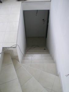 Escaliers quart tournant Carrelage 30x30 Baguette finition aluminium brossé